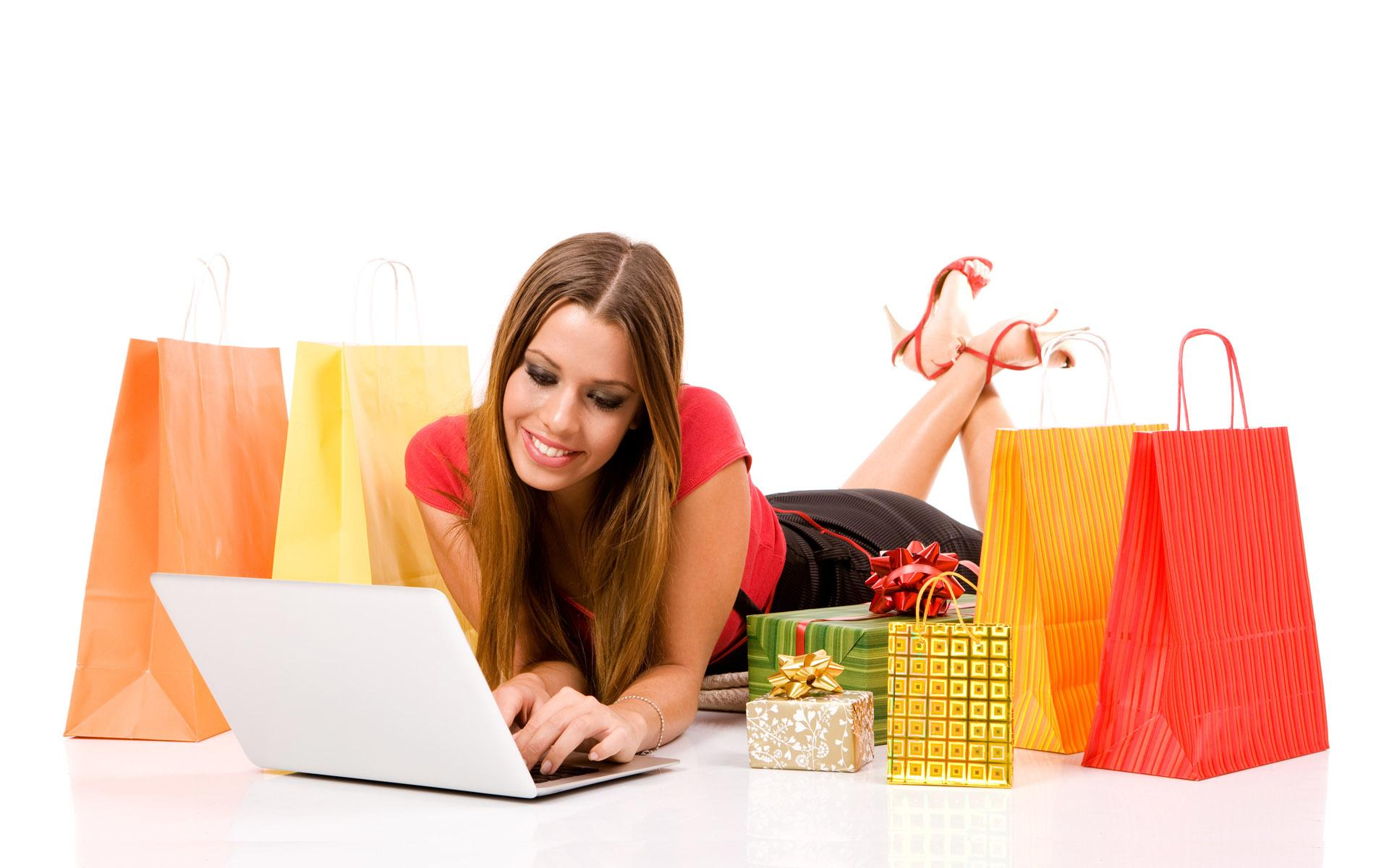 woman shopping over internet